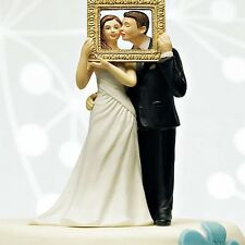 Picture Perfect Couple Funny Wedding Cake Topper WITH Custom Hair Colors