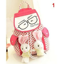 Girls Backpack Cartoon Rucksack Satchel School Bag with Double cute Rabbits #K2