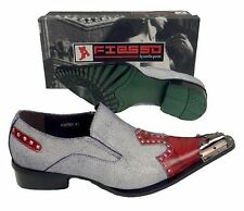 New Fiesso Denim/Red Pointed Toe Metal Tip & Studs Slip on Dress Shoes FI 6763