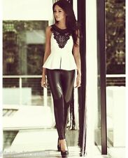 Womens Peplum Top Michelle Keegan Sequin Floral Lace Embroidered Sleeveless Vest