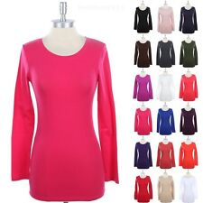 Womens Basic Cotton Crew Neck Long Sleeve T Shirt Top Solid Plain Layering S M L