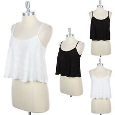 A-Line FLARED LOOSE FIT CUTE Tank Top Lace Layer Spaghetti Strap Camisole S M L