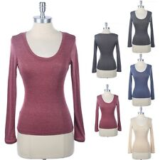 Scoop Neck Long Sleeve T Shirt Melange Tee Top Studded Chest Pocket Casual S M L