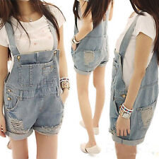 Women Girls Washed Jeans Denim Casual Hole Jumpsuit Romper Overall Short Pants