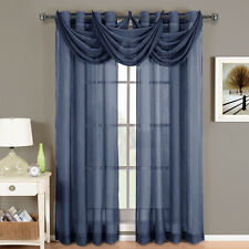 Royal Textiles Abri Navy Grommet Crushed Sheer Curtain Panel