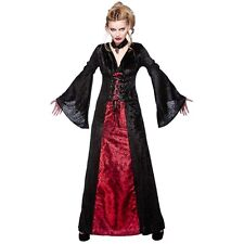Midnight Vampiress Adults Halloween Vampire Costume Ladies Fancy Dress Outfit