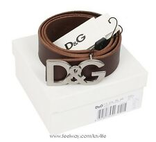 Nwt D&G DOLCE & GABBANA Mens Brown Leather Logo Classic Belt $345!