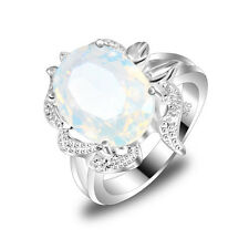 Woman Fine Jewelry Gift Rainbow Moonstone Gemstone Silver Ring size 7 8 9