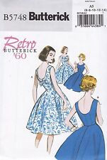 Butterick Sewing Pattern Misses RETRO1960s Lined Dress 6-22 B5748 HALF PRICE
