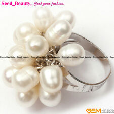 Fashion Jewelry 6-7mm freshwater pearl white gold plated ring adjustable size