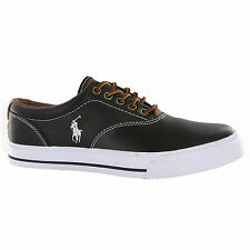 Ralph Lauren Vaughn Black White Leather Mens Trainers