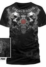 "Dream Theater ""Double Skull"" Officially Licensed Men's Black T-Shirt. New!"