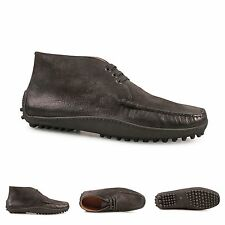 Car Shoe mens black kid leather ankle boots driving shoes rubber treaded sole