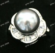 Wedding Jewelry Round 12MM Black South Sea Shell Pearl 18KGP Ring Size 8/9/10