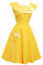 Rosa Rosa Vtg 1950s Retro Yellow Polka Dot Rockabilly Party Prom Swing Tea Dress