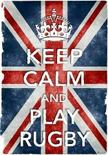 Kc17 Stile Vintage Union Jack Keep calm play rugby DIVERTENTE poster stampa A2 / A3 / A4