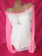 Nwt VICTORIAS SECRET SLOUCHY BASEBALL PULLOVER T SHIRT BLOUSE TOP PiNK