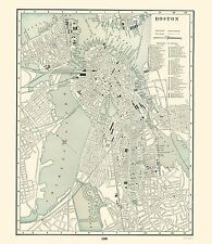 Old City Map - Boston Massachusetts - Rathbun 1893 - 23 x 26.50