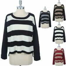 Rugby Stripe Knit Sweater Round Neck Long Sleeve High Low Hem Warm Comfy S M L