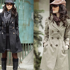 Womens Fashion Long Sleeve Slim Trench Double Breasted Coat Jacket Outwear