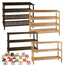 3 4 Tier Wooden Shoe Rack Stand Storage Organiser Boot Holder Natural Brown Unit