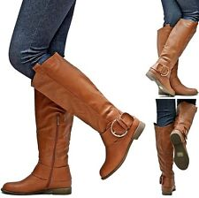 New Womens EJ2 Tan Buckle Cowboy Western Knee High Riding Boots Sz 6 to 11