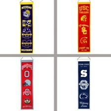 "Choose Your NCAA M-Z Team 8 x 32"" Embroidered Wool Heritage Vertical Banner Flag"