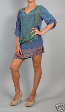 Tolani 100% Silk Courtney Long Tunic Blouse Top Mini Dress 8696 in Blue
