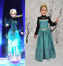 Girls Kids Princess Frozen Elsa Anna Costume Cosplay Party Fancy Dress 3-8Y