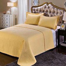 Royal Textiles Gold Checkered Quilted Microfiber 3 Piece Coverlet Set