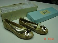 NIB NWT Womens Solos Flats Sand Snakeskin Buckle Trendy Style Fashion Shoes