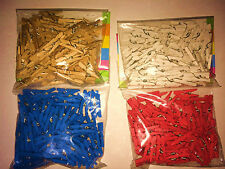 NEW 225 or 325  MINI 25mm WOODEN CRAFT PEGS CARD PHOTO HOLDER CLIPS PAINTED sil