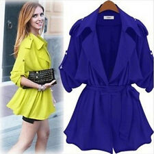 2014 Hot Women Fashion Moda Loose  Coat Jacket Lapel With Belt  CA WB