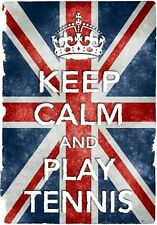 Kc19 Stile Vintage Union Jack Keep calm play tennis DIVERTENTE poster stampa A2 / A3 / A4