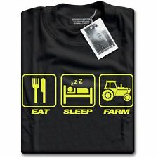 NEW Premium Farmers Eat Sleep Farm Farming Young Present Gift Mens Black T-Shirt