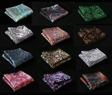 FD Paisley Floral Silk Satin Pocket Square Hanky Wedding Party Handkerchief