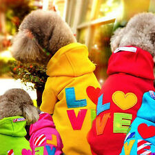4 Colors Rainbow Sweater Hoodie Pet Dog Clothes Puppy Jumpsuit Small Coat Autumn