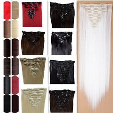 17/23cheap US 8Pcs Full Head curly straight blonde/white Clip in Hair Extensions