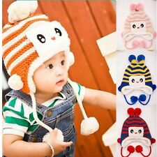 New Crochet Baby Toddler Infant PomPoms Thicken Hat Cap Ears Protect Earflap Hat