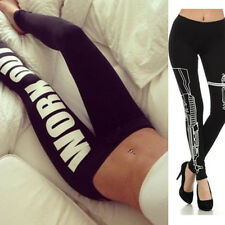 Womens Ladies WORK OUT/Gun Printed Dope Leggings Slogan Bottoms Jeggings Pants