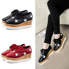 Womens Wedge Heel Platform Shoes Stars Lace-up Casual Loafer Pumps Creepers JQ9
