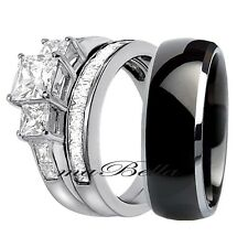 New Hers 925 Sterling Silver His Black Titanium Engagement Wedding Ring Band Set