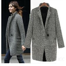 Warm Coats Womens Tweed Trench Jacket Wool Coat Vintage Peacoat Size 0 2 4 sale