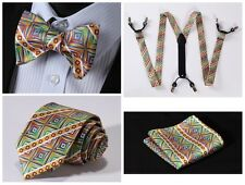 6S02G Green Yellow Stripe Silk Tie Handkerchief Suspenders Self Bow Tie Set