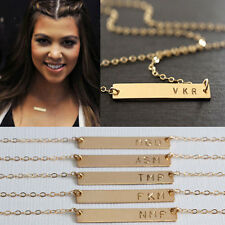 Celebrity Style jewelry Personalized GOLD Bar Initial charm necklace Chain Gift