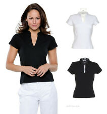 Ladies V Neck Short Sleeve T Shirt Mandarin Collar Corporate Casual Work Top New