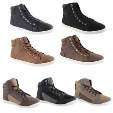 New Mens Designer Lace Up High Hi Top Fashion Trainers Shoes Boys Sneakers Boots