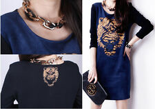 Women Leopard Printed Splicing Long-Sleeved Dress Slim Bottoming Knitting Shirt