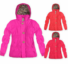 Girls Padded Winter Coat Kids Hooded Faux Fur Lined Jacket New Age 3 - 6 Years