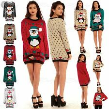Womens Heart Santa Christmas Ladies Aztec Pom Pom Penguin Long Jumper Dress Top